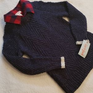 NWT - Boys Mock Layer Navy Marled Sweater